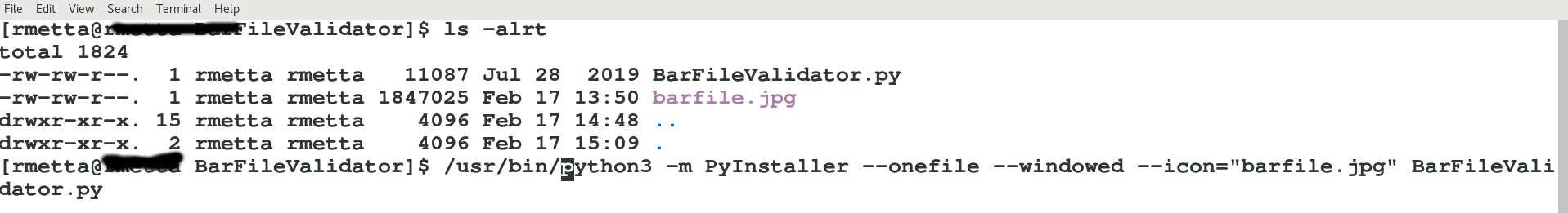 Pyinstaller command